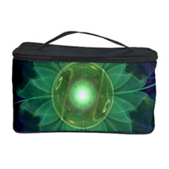 Glowing Blue Green Fractal Lotus Lily Pad Pond Cosmetic Storage Case