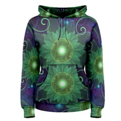 Glowing Blue-Green Fractal Lotus Lily Pad Pond Women s Pullover Hoodie