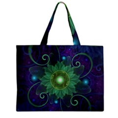 Glowing Blue-Green Fractal Lotus Lily Pad Pond Zipper Mini Tote Bag