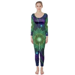 Glowing Blue-Green Fractal Lotus Lily Pad Pond Long Sleeve Catsuit