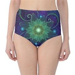Glowing Blue-Green Fractal Lotus Lily Pad Pond High-Waist Bikini Bottoms