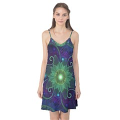 Glowing Blue-Green Fractal Lotus Lily Pad Pond Camis Nightgown