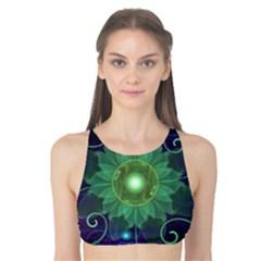 Glowing Blue-Green Fractal Lotus Lily Pad Pond Tank Bikini Top