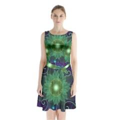 Glowing Blue-Green Fractal Lotus Lily Pad Pond Sleeveless Waist Tie Chiffon Dress
