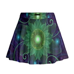 Glowing Blue Green Fractal Lotus Lily Pad Pond Mini Flare Skirt
