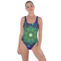 Glowing Blue Green Fractal Lotus Lily Pad Pond Bring Sexy Back Swimsuit
