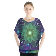 Glowing Blue-Green Fractal Lotus Lily Pad Pond Blouse