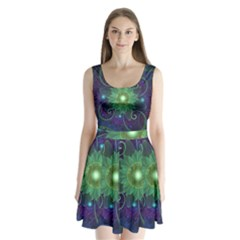 Glowing Blue-Green Fractal Lotus Lily Pad Pond Split Back Mini Dress