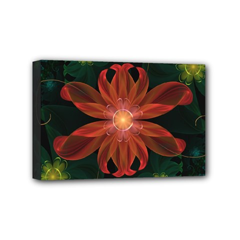 Beautiful Red Passion Flower in a Fractal Jungle Mini Canvas 6  x 4