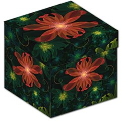 Beautiful Red Passion Flower in a Fractal Jungle Storage Stool 12