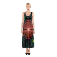 Beautiful Red Passion Flower in a Fractal Jungle Sleeveless Maxi Dress