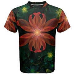 Beautiful Red Passion Flower in a Fractal Jungle Men s Cotton Tee