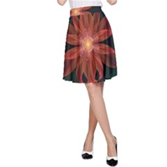 Beautiful Red Passion Flower in a Fractal Jungle A-Line Skirt