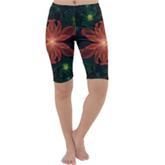 Beautiful Red Passion Flower in a Fractal Jungle Cropped Leggings