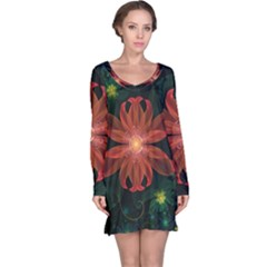 Beautiful Red Passion Flower in a Fractal Jungle Long Sleeve Nightdress