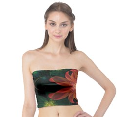 Beautiful Red Passion Flower in a Fractal Jungle Tube Top