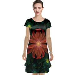 Beautiful Red Passion Flower in a Fractal Jungle Cap Sleeve Nightdress