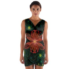 Beautiful Red Passion Flower in a Fractal Jungle Wrap Front Bodycon Dress