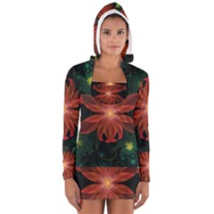 Beautiful Red Passion Flower in a Fractal Jungle Women s Long Sleeve Hooded T-shirt