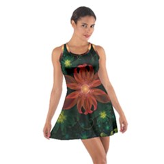 Beautiful Red Passion Flower In A Fractal Jungle Cotton Racerback Dress