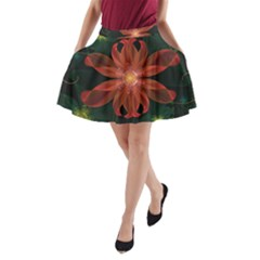 Beautiful Red Passion Flower in a Fractal Jungle A-Line Pocket Skirt