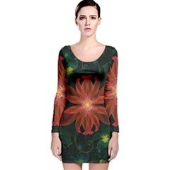 Beautiful Red Passion Flower in a Fractal Jungle Long Sleeve Velvet Bodycon Dress