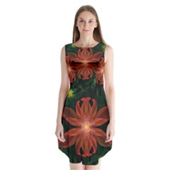 Beautiful Red Passion Flower in a Fractal Jungle Sleeveless Chiffon Dress