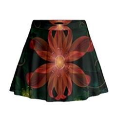 Beautiful Red Passion Flower in a Fractal Jungle Mini Flare Skirt