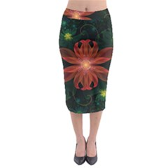 Beautiful Red Passion Flower in a Fractal Jungle Midi Pencil Skirt