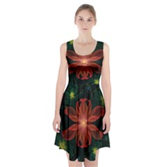 Beautiful Red Passion Flower In A Fractal Jungle Racerback Midi Dress