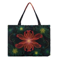 Beautiful Red Passion Flower in a Fractal Jungle Medium Tote Bag