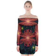 Beautiful Red Passion Flower In A Fractal Jungle Long Sleeve Off Shoulder Dress