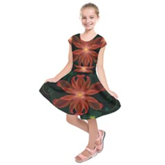 Beautiful Red Passion Flower in a Fractal Jungle Kids  Short Sleeve Dress