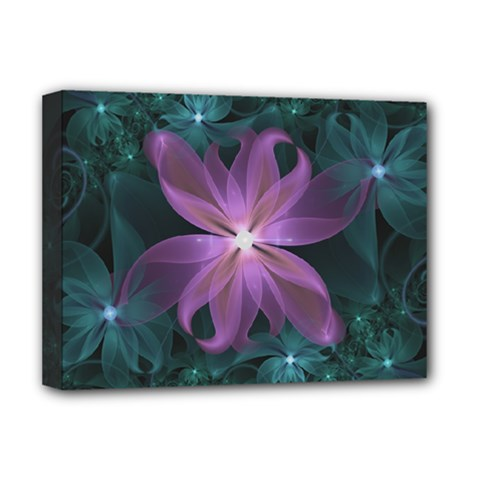 Pink and Turquoise Wedding Cremon Fractal Flowers Deluxe Canvas 16  x 12