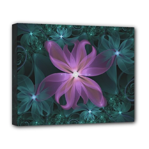 Pink and Turquoise Wedding Cremon Fractal Flowers Deluxe Canvas 20  x 16