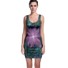 Pink and Turquoise Wedding Cremon Fractal Flowers Sleeveless Bodycon Dress