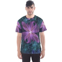 Pink and Turquoise Wedding Cremon Fractal Flowers Men s Sports Mesh Tee