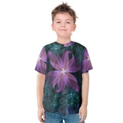 Pink and Turquoise Wedding Cremon Fractal Flowers Kids  Cotton Tee