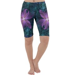 Pink and Turquoise Wedding Cremon Fractal Flowers Cropped Leggings