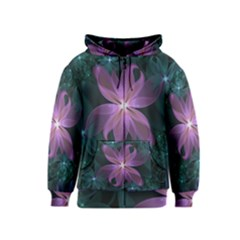 Pink and Turquoise Wedding Cremon Fractal Flowers Kids  Zipper Hoodie