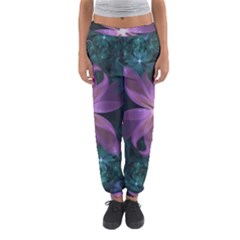 Pink and Turquoise Wedding Cremon Fractal Flowers Women s Jogger Sweatpants