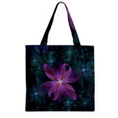 Pink and Turquoise Wedding Cremon Fractal Flowers Zipper Grocery Tote Bag