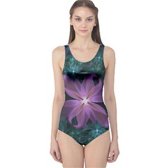Pink and Turquoise Wedding Cremon Fractal Flowers One Piece Swimsuit