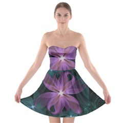 Pink and Turquoise Wedding Cremon Fractal Flowers Strapless Bra Top Dress