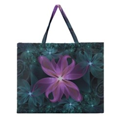 Pink and Turquoise Wedding Cremon Fractal Flowers Zipper Large Tote Bag