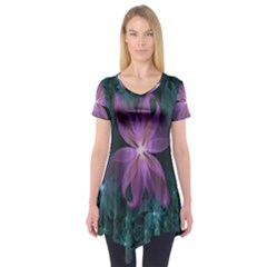 Pink and Turquoise Wedding Cremon Fractal Flowers Short Sleeve Tunic