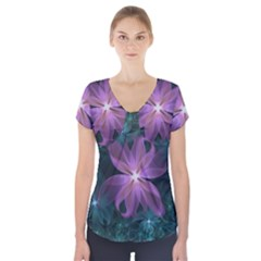Pink and Turquoise Wedding Cremon Fractal Flowers Short Sleeve Front Detail Top