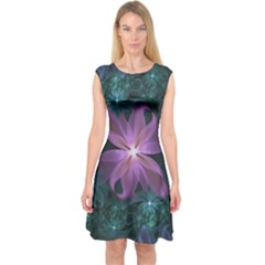 Pink and Turquoise Wedding Cremon Fractal Flowers Capsleeve Midi Dress