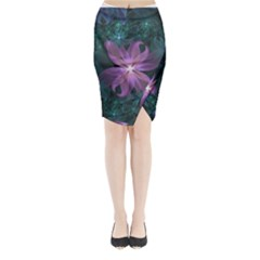Pink and Turquoise Wedding Cremon Fractal Flowers Midi Wrap Pencil Skirt