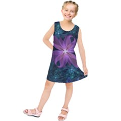 Pink and Turquoise Wedding Cremon Fractal Flowers Kids  Tunic Dress